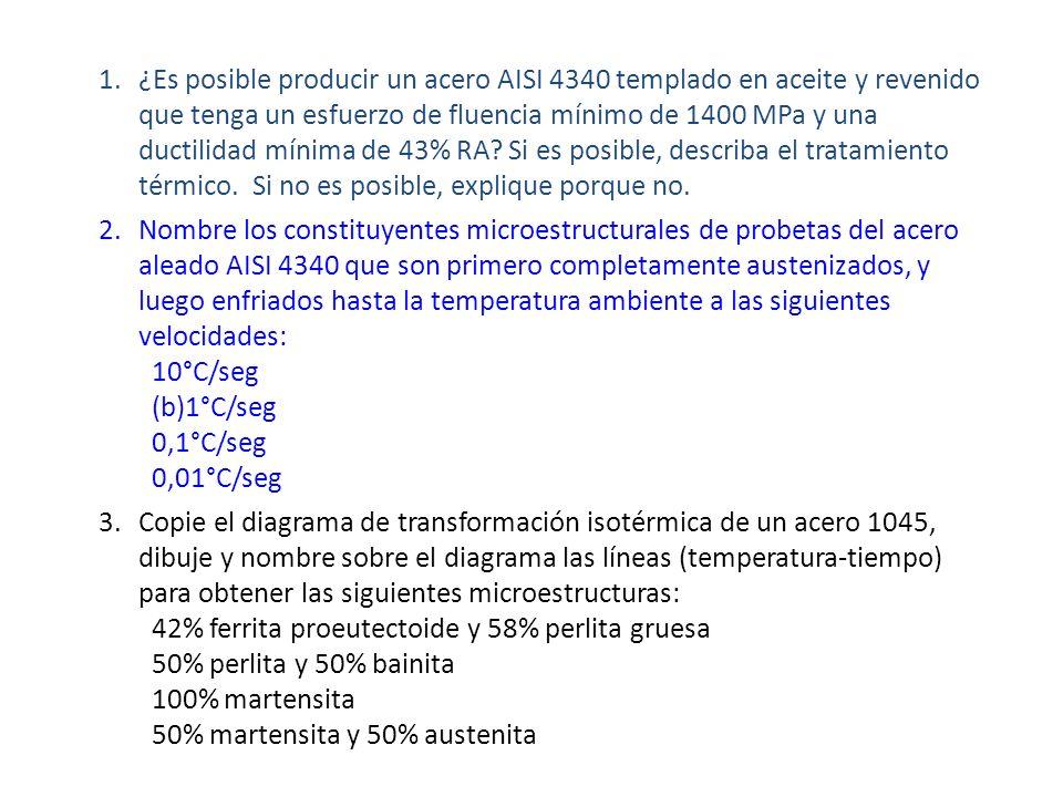 ¿Es posible producir un acero AISI 4340 templado en aceite y revenido que tenga un esfuerzo de fluencia mínimo de 1400 MPa y una ductilidad mínima de 43% RA Si es posible, describa el tratamiento térmico. Si no es posible, explique porque no.