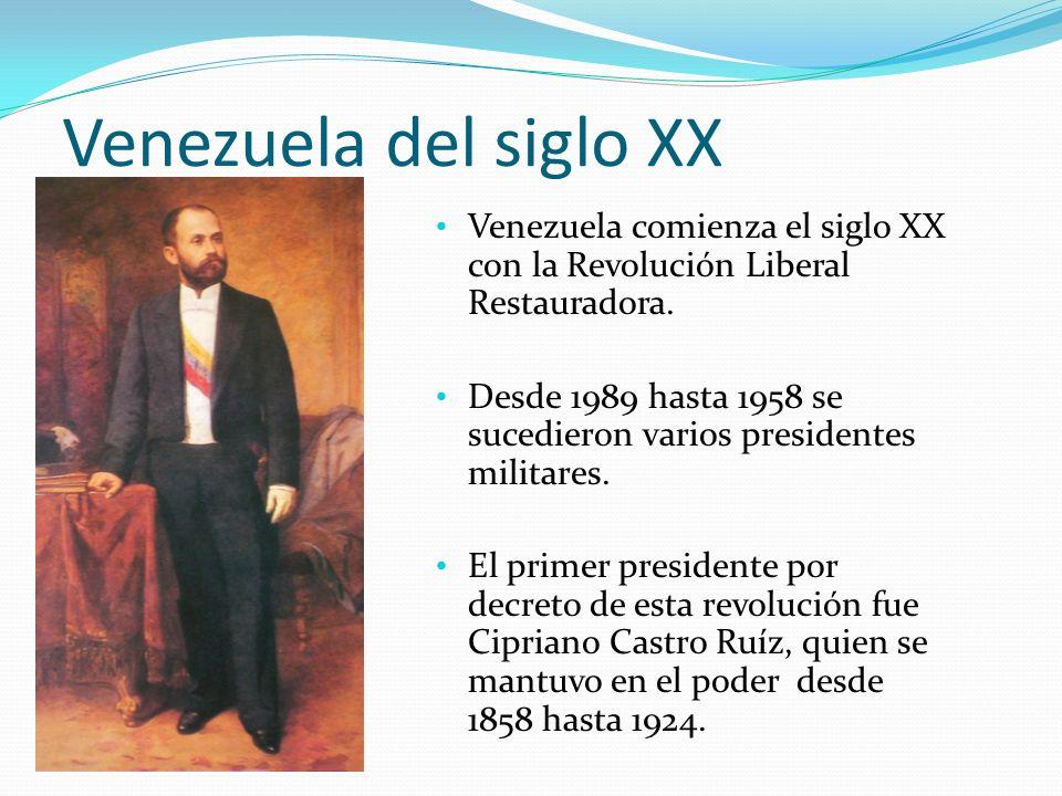 Venezuela del siglo XX Venezuela comienza el siglo XX con la Revolución Liberal Restauradora.