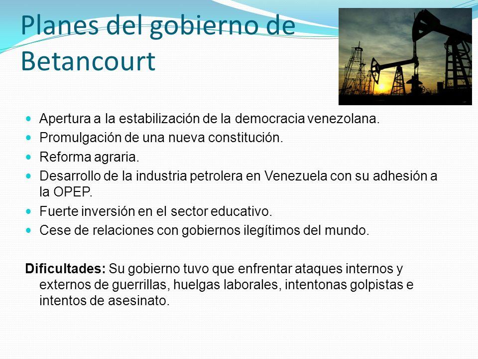 Planes del gobierno de Betancourt