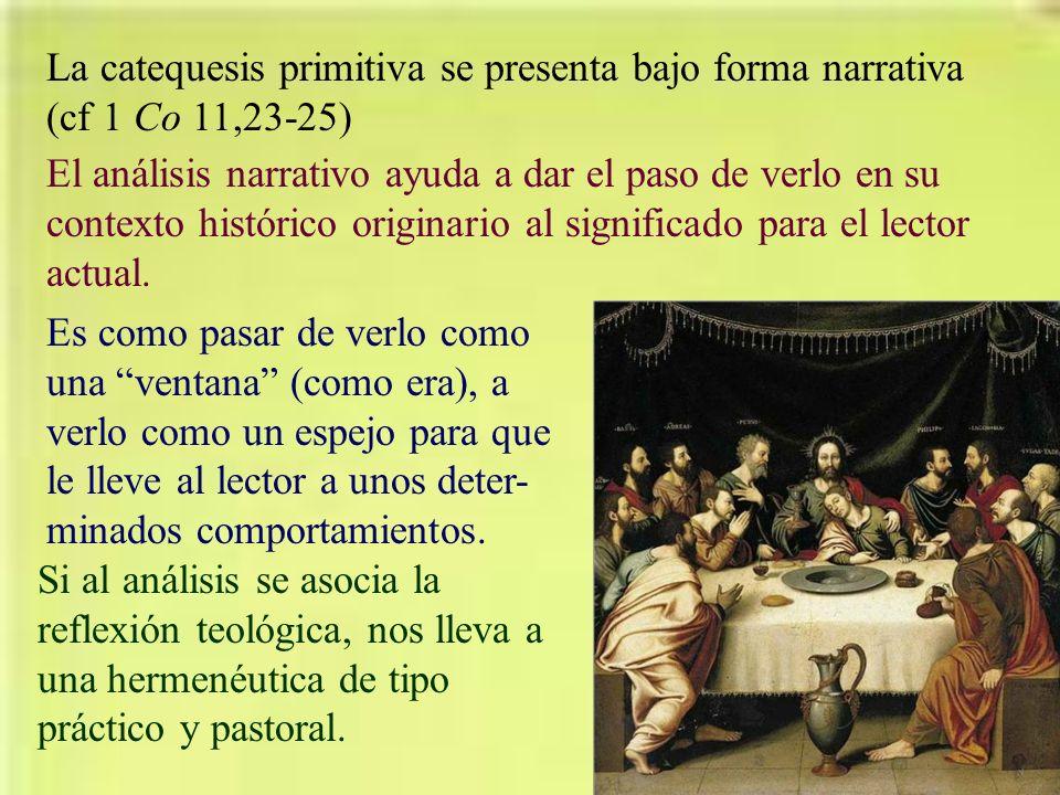 La catequesis primitiva se presenta bajo forma narrativa (cf 1 Co 11,23-25)
