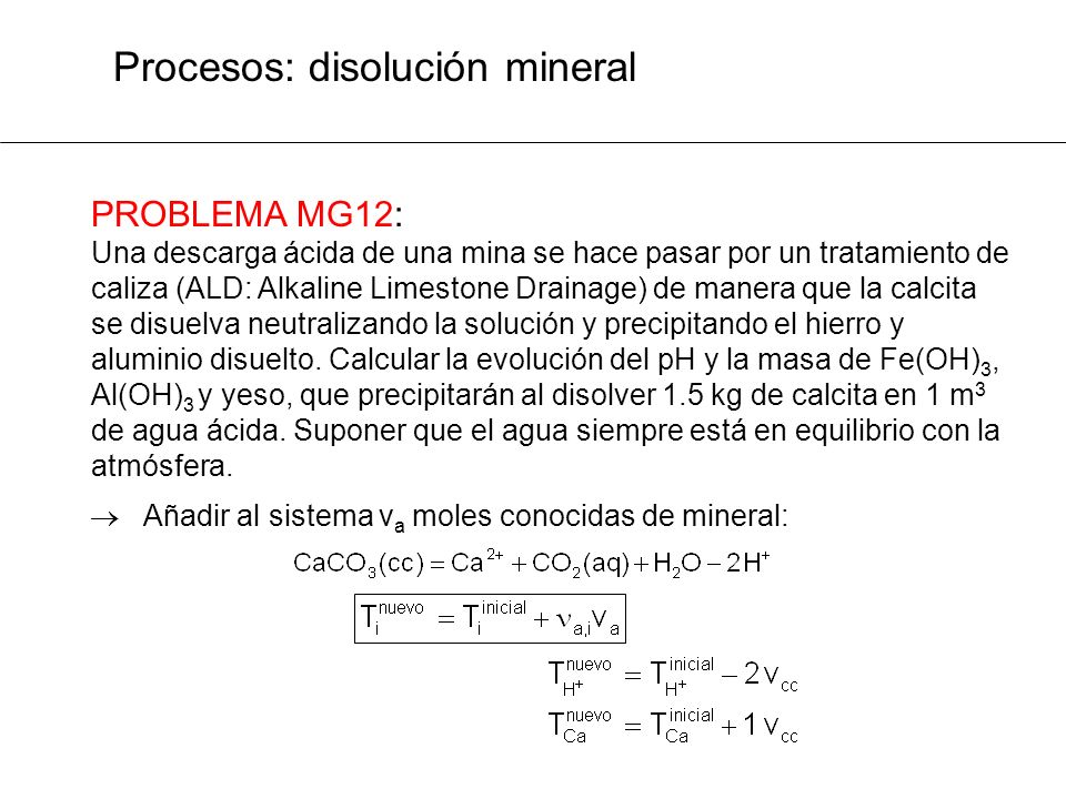 Procesos: disolución mineral