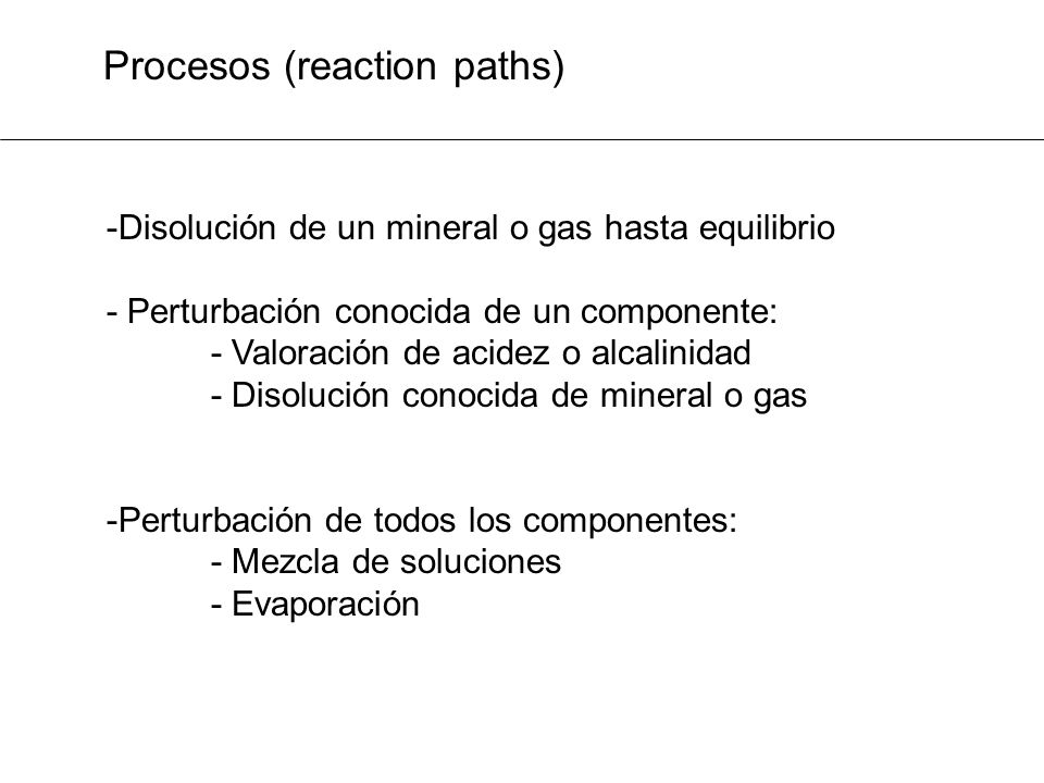 Procesos (reaction paths)