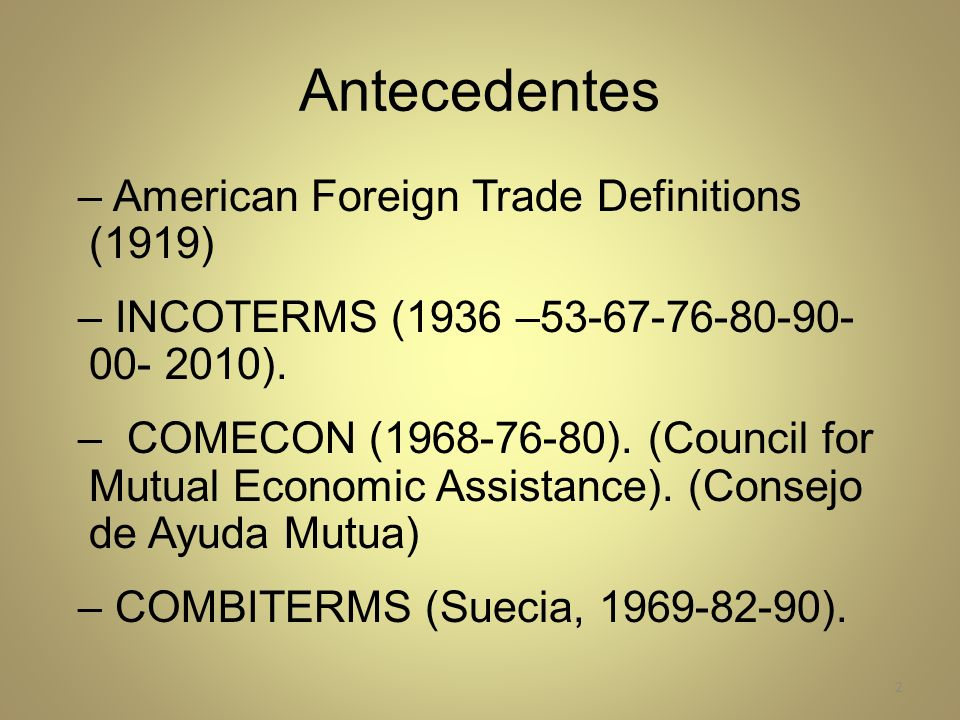 Antecedentes American Foreign Trade Definitions (1919)