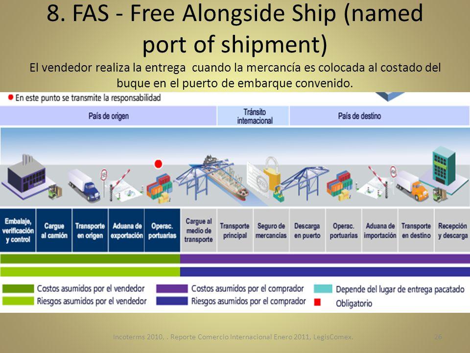 8. FAS - Free Alongside Ship (named port of shipment) El vendedor realiza la entrega cuando la mercancía es colocada al costado del buque en el puerto de embarque convenido.