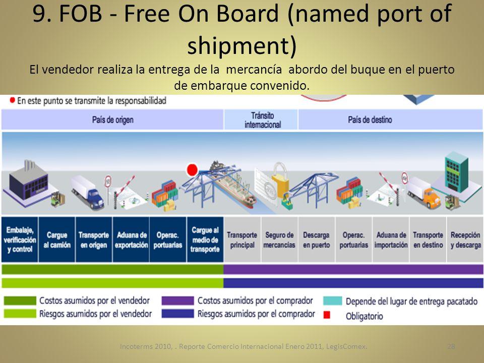 9. FOB - Free On Board (named port of shipment) El vendedor realiza la entrega de la mercancía abordo del buque en el puerto de embarque convenido.