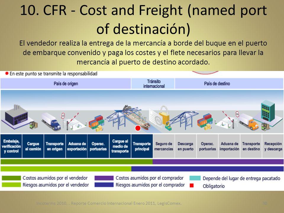 10. CFR - Cost and Freight (named port of destinación) El vendedor realiza la entrega de la mercancía a borde del buque en el puerto de embarque convenido y paga los costes y el flete necesarios para llevar la mercancía al puerto de destino acordado.