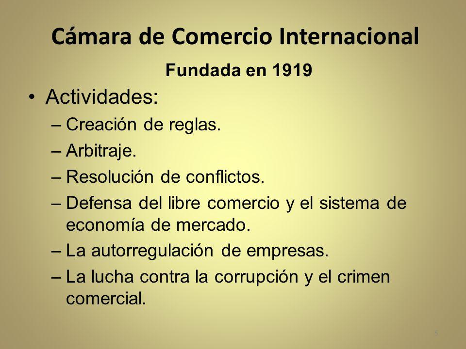Cámara de Comercio Internacional Fundada en 1919