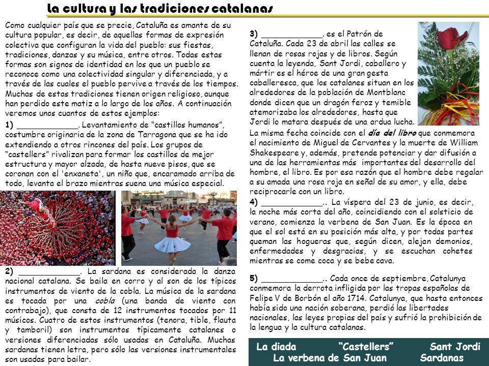 La diada Castellers Sant Jordi La verbena de San Juan Sardanas