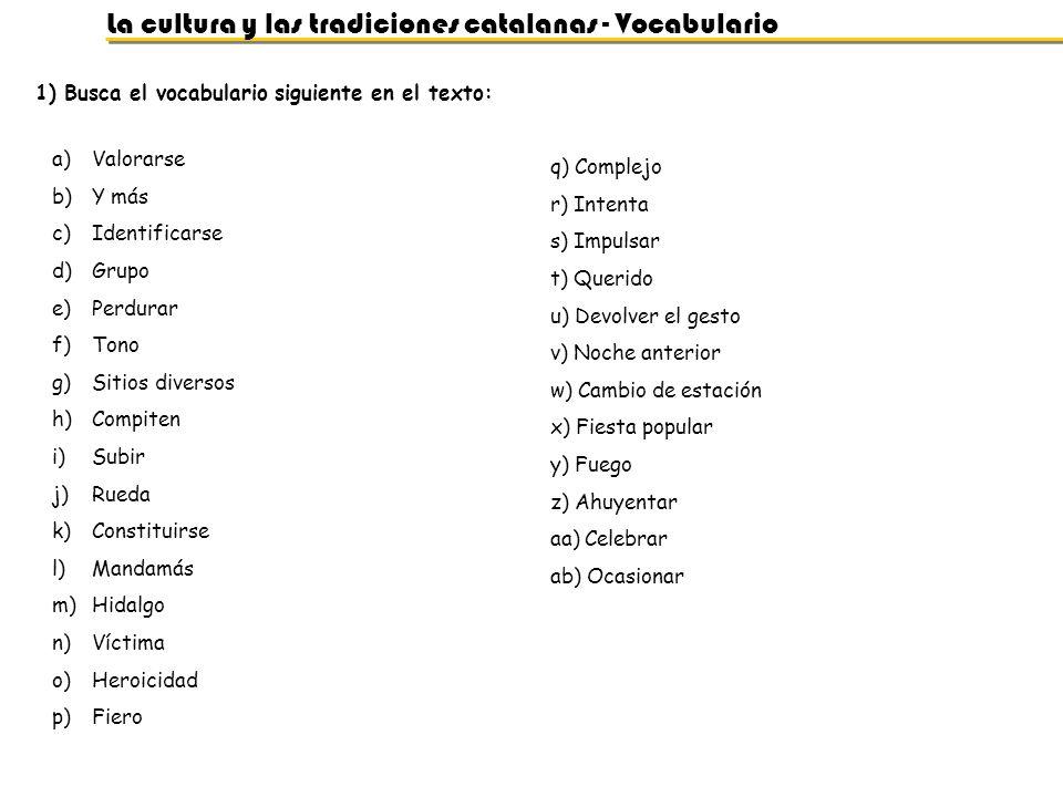 La cultura y las tradiciones catalanas - Vocabulario