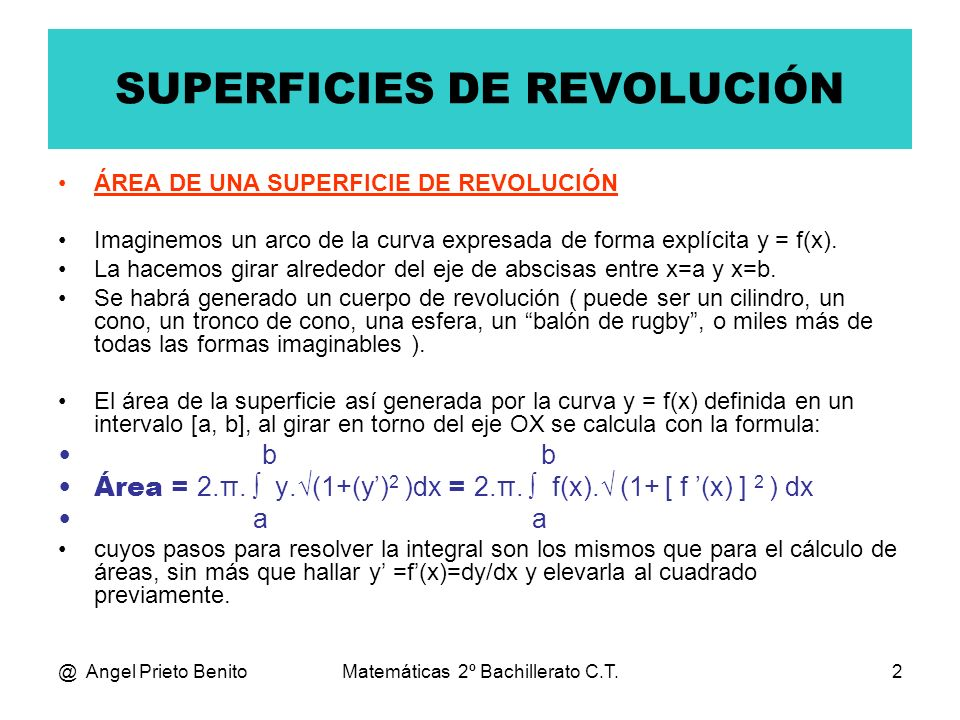 SUPERFICIES DE REVOLUCIÓN