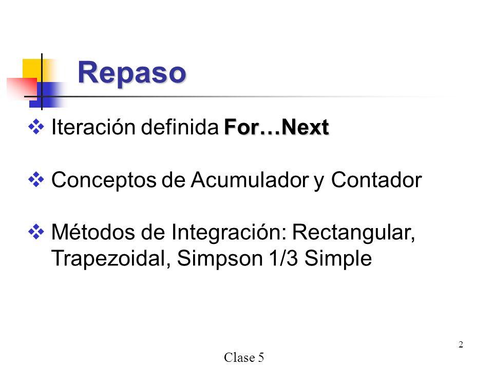 Repaso Iteración definida For…Next Conceptos de Acumulador y Contador