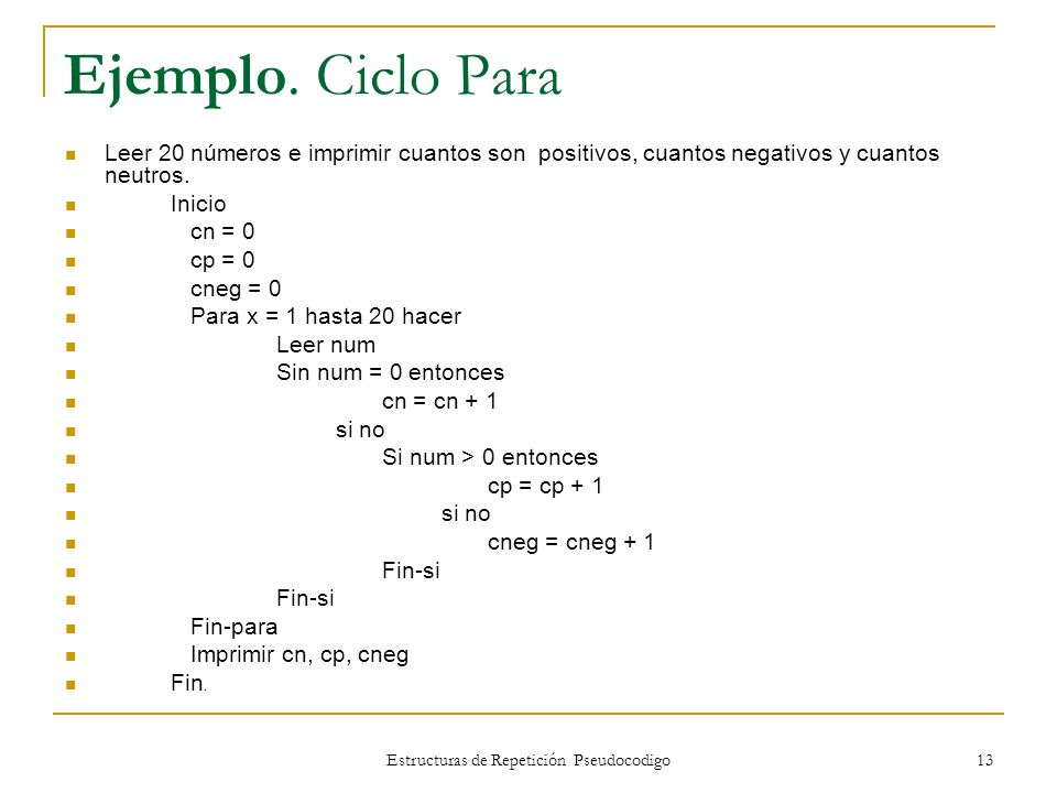 Estructuras de Repetición Pseudocodigo