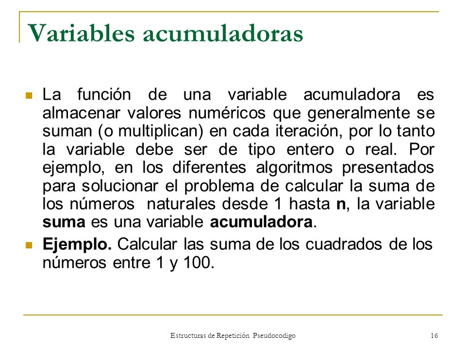 Variables acumuladoras