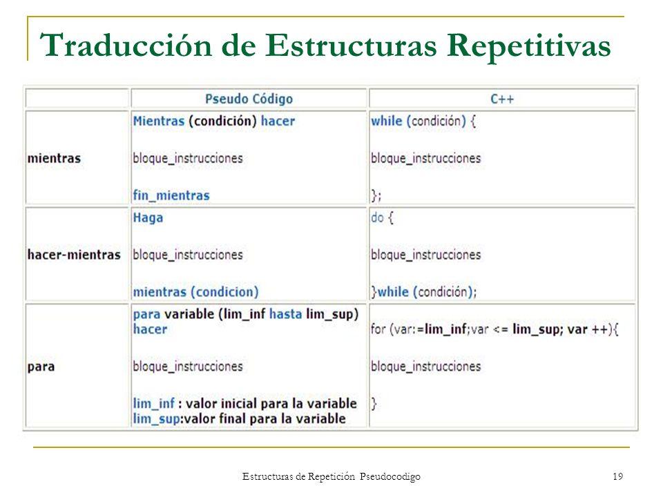 Traducción de Estructuras Repetitivas