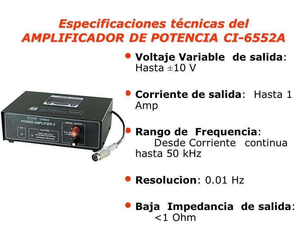Especificaciones técnicas del AMPLIFICADOR DE POTENCIA CI-6552A