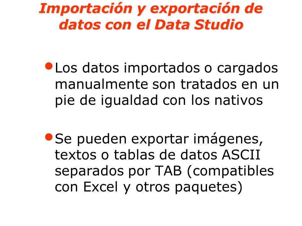 Importación y exportación de datos con el Data Studio