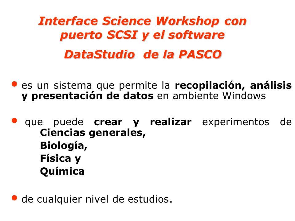 Interface Science Workshop con puerto SCSI y el software DataStudio de la PASCO