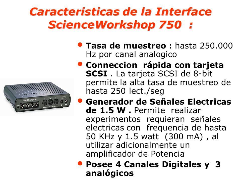 Caracteristicas de la Interface ScienceWorkshop 750 :