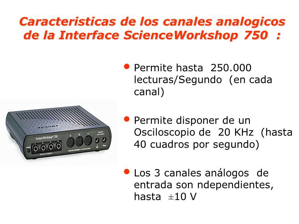 Caracteristicas de los canales analogicos de la Interface ScienceWorkshop 750 :