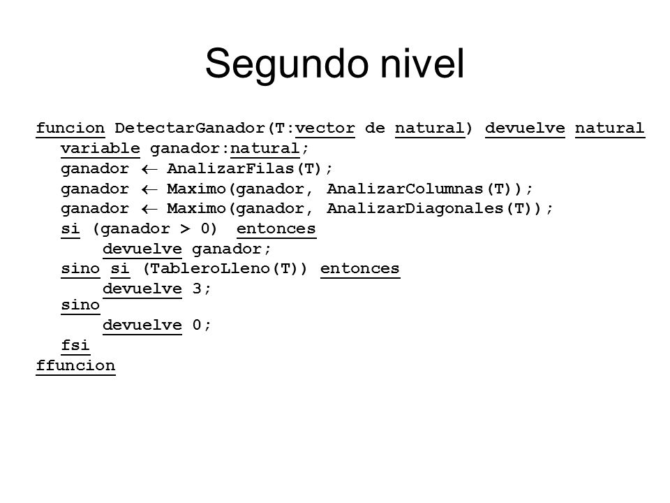 Segundo nivel funcion DetectarGanador(T:vector de natural) devuelve natural. variable ganador:natural;