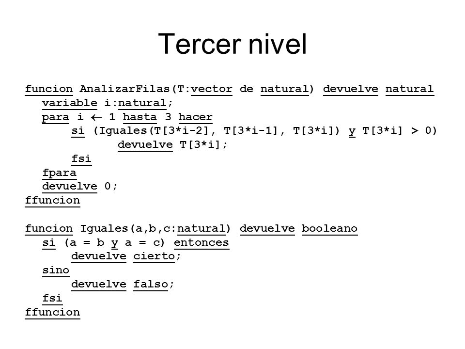 Tercer nivel funcion AnalizarFilas(T:vector de natural) devuelve natural. variable i:natural; para i  1 hasta 3 hacer.