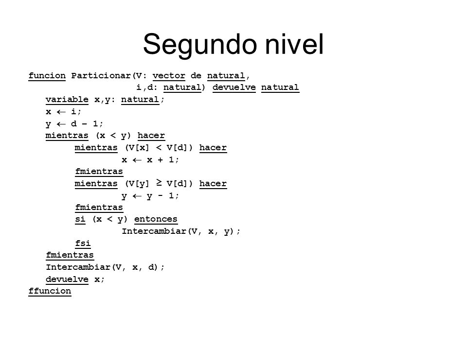 Segundo nivel funcion Particionar(V: vector de natural,