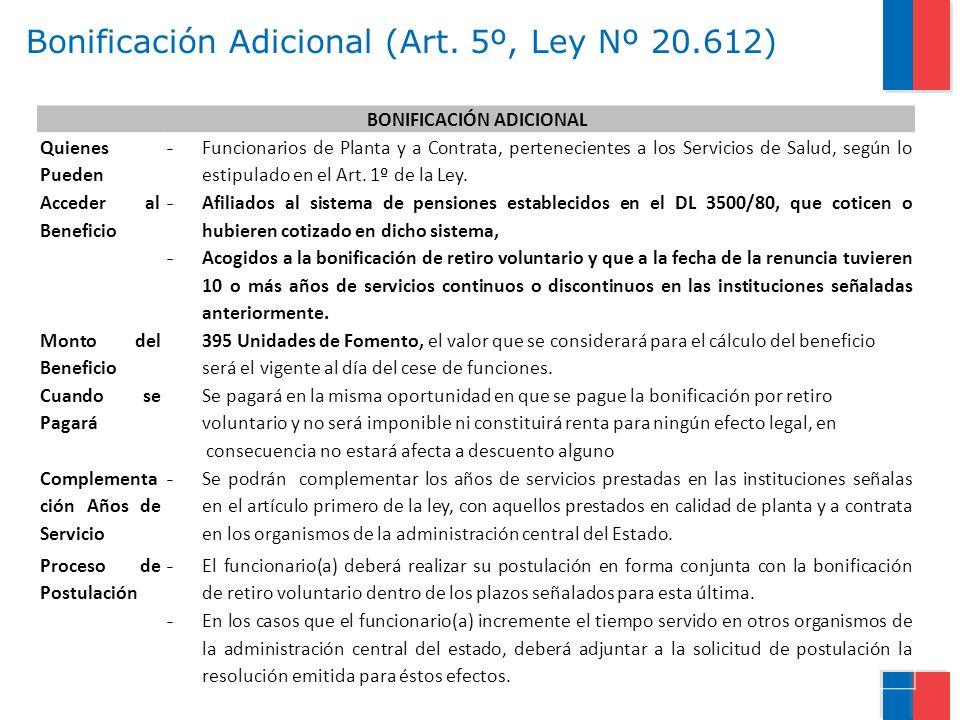 Bonificación Adicional (Art. 5º, Ley Nº 20.612)