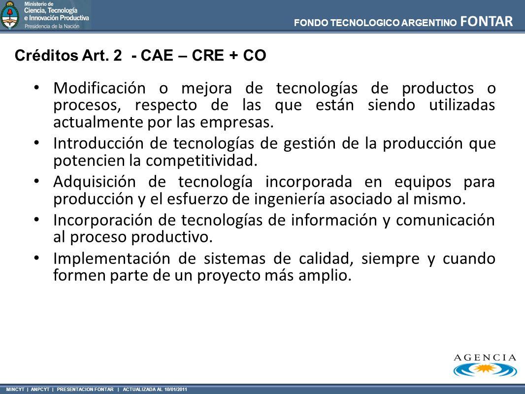 Créditos Art. 2 - CAE – CRE + CO