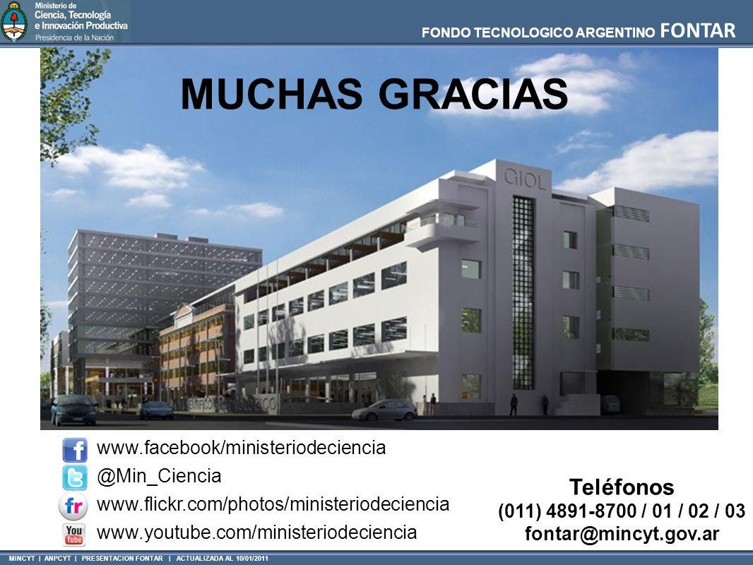 MUCHAS GRACIAS Teléfonos www.facebook/ministeriodeciencia @Min_Ciencia