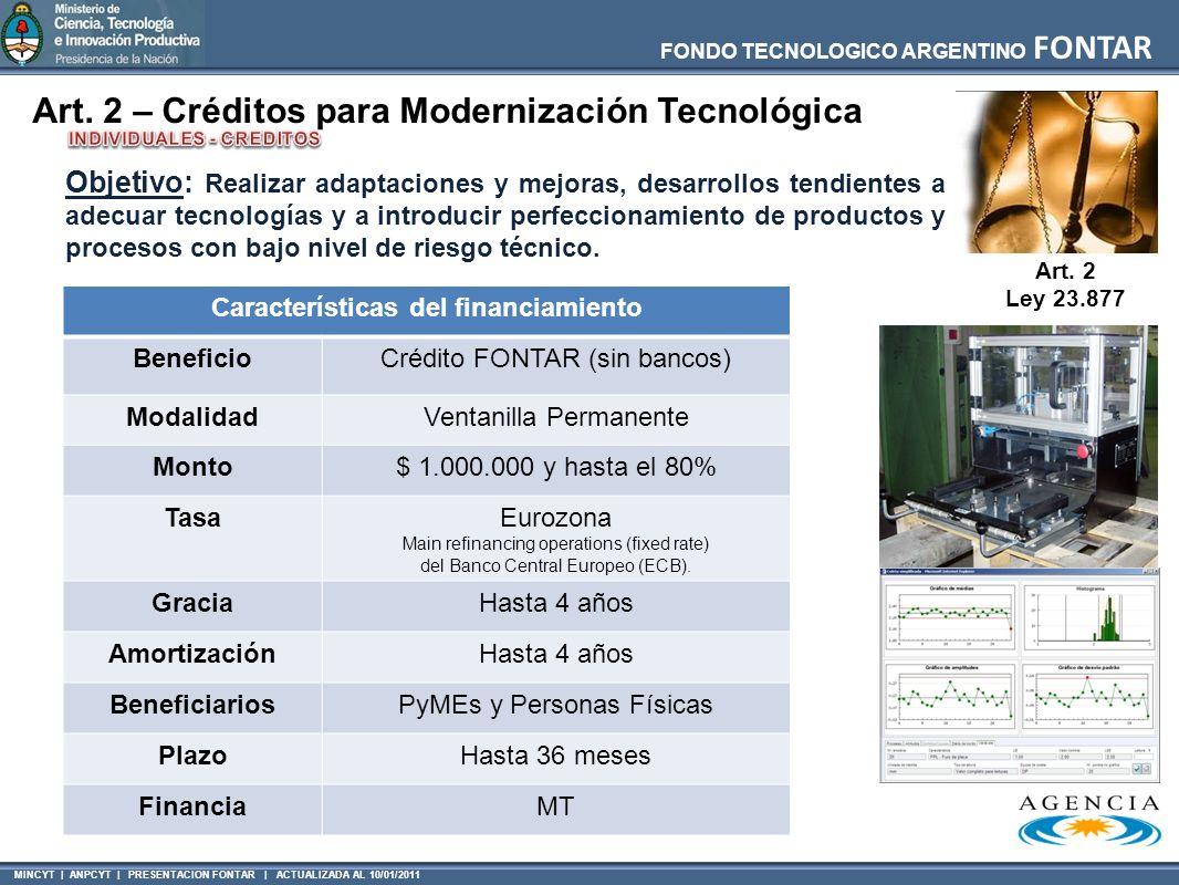 INDIVIDUALES - CREDITOS Características del financiamiento
