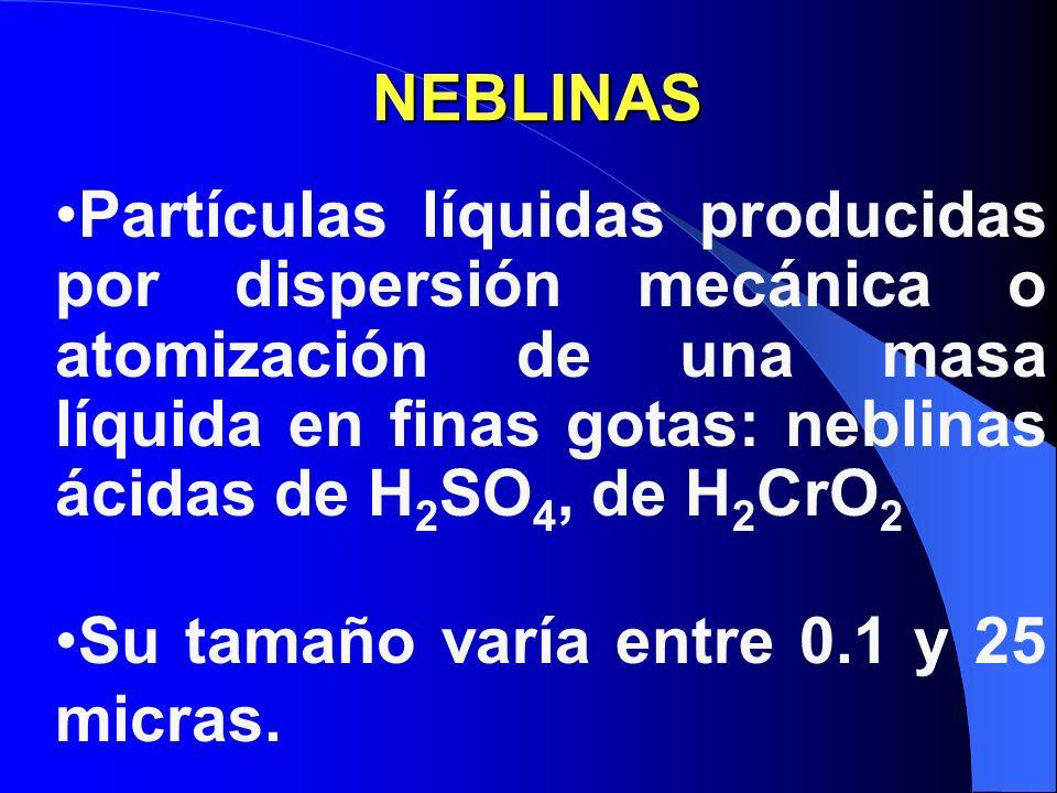 NEBLINAS Partículas líquidas producidas por dispersión mecánica o atomización de una masa líquida en finas gotas: neblinas ácidas de H2SO4, de H2CrO2.