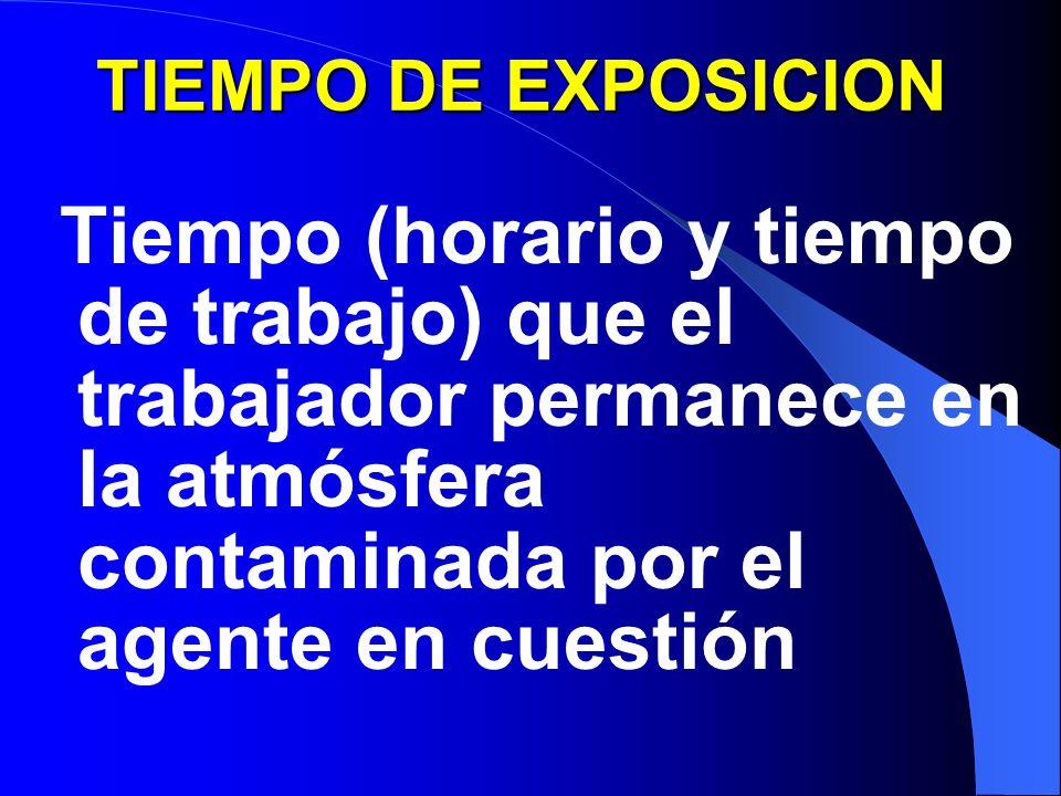 TIEMPO DE EXPOSICION Tiempo (horario y tiempo de trabajo) que el trabajador permanece en la atmósfera contaminada por el agente en cuestión.