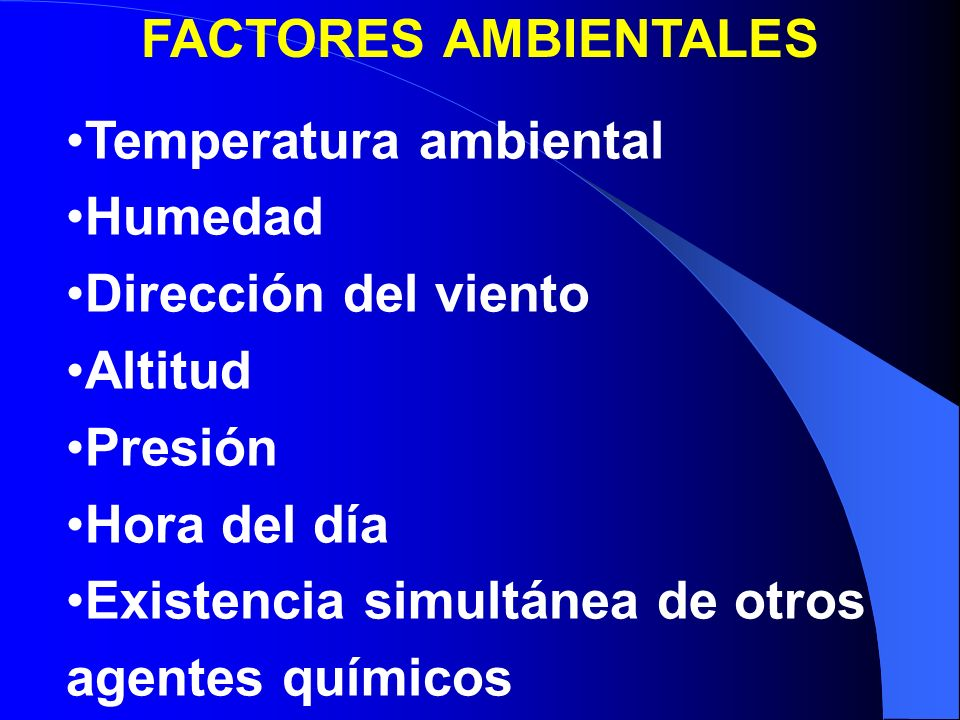 FACTORES AMBIENTALES Temperatura ambiental. Humedad. Dirección del viento. Altitud. Presión. Hora del día.