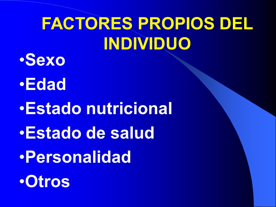 FACTORES PROPIOS DEL INDIVIDUO