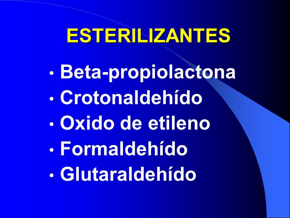 ESTERILIZANTES Beta-propiolactona Crotonaldehído Oxido de etileno Formaldehído Glutaraldehído