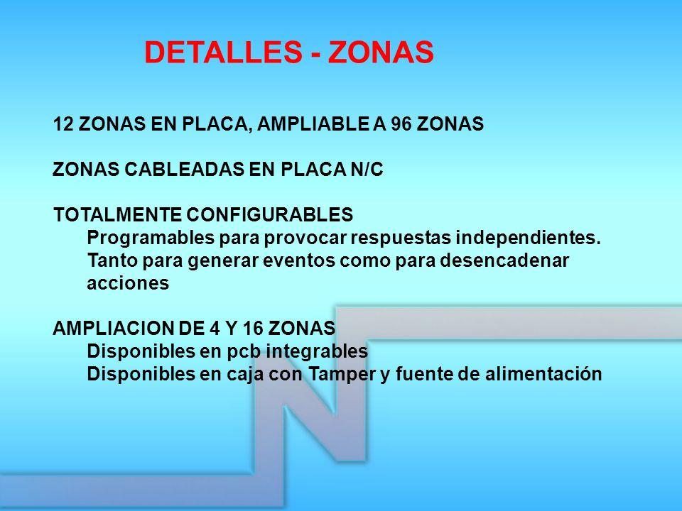 DETALLES - ZONAS 12 ZONAS EN PLACA, AMPLIABLE A 96 ZONAS
