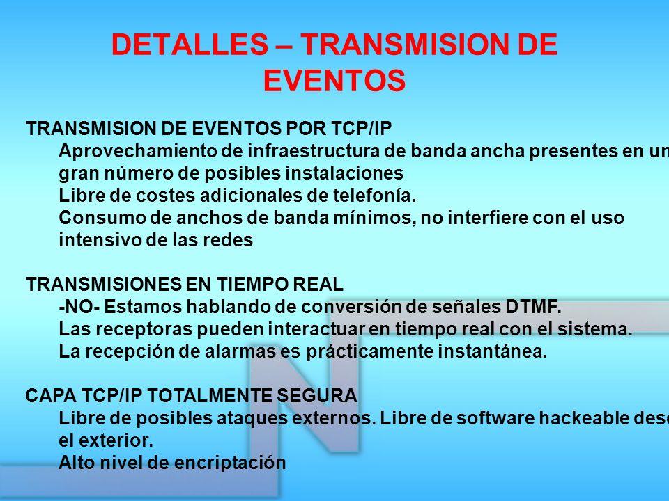 DETALLES – TRANSMISION DE EVENTOS