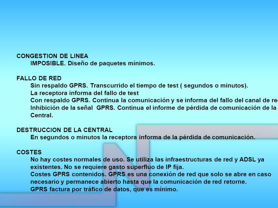 CONGESTION DE LINEA IMPOSIBLE. Diseño de paquetes mínimos. FALLO DE RED. Sin respaldo GPRS. Transcurrido el tiempo de test ( segundos o minutos).