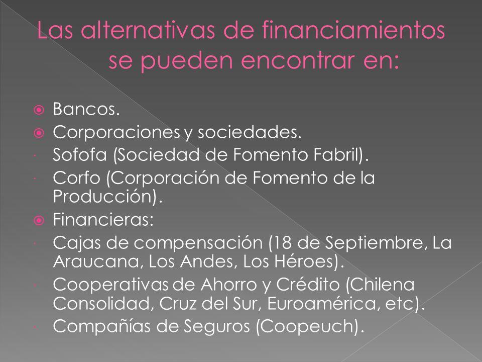 Las alternativas de financiamientos se pueden encontrar en:
