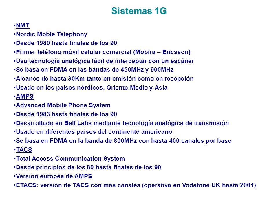 Sistemas 1G NMT Nordic Moble Telephony