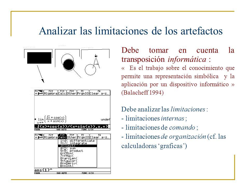 Analizar las limitaciones de los artefactos