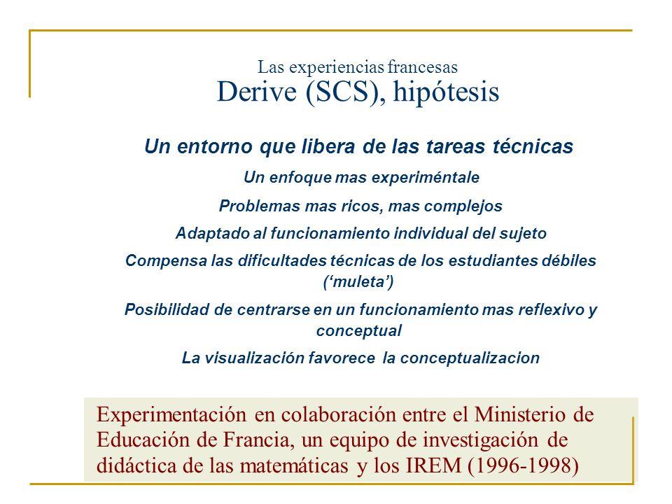 Las experiencias francesas Derive (SCS), hipótesis