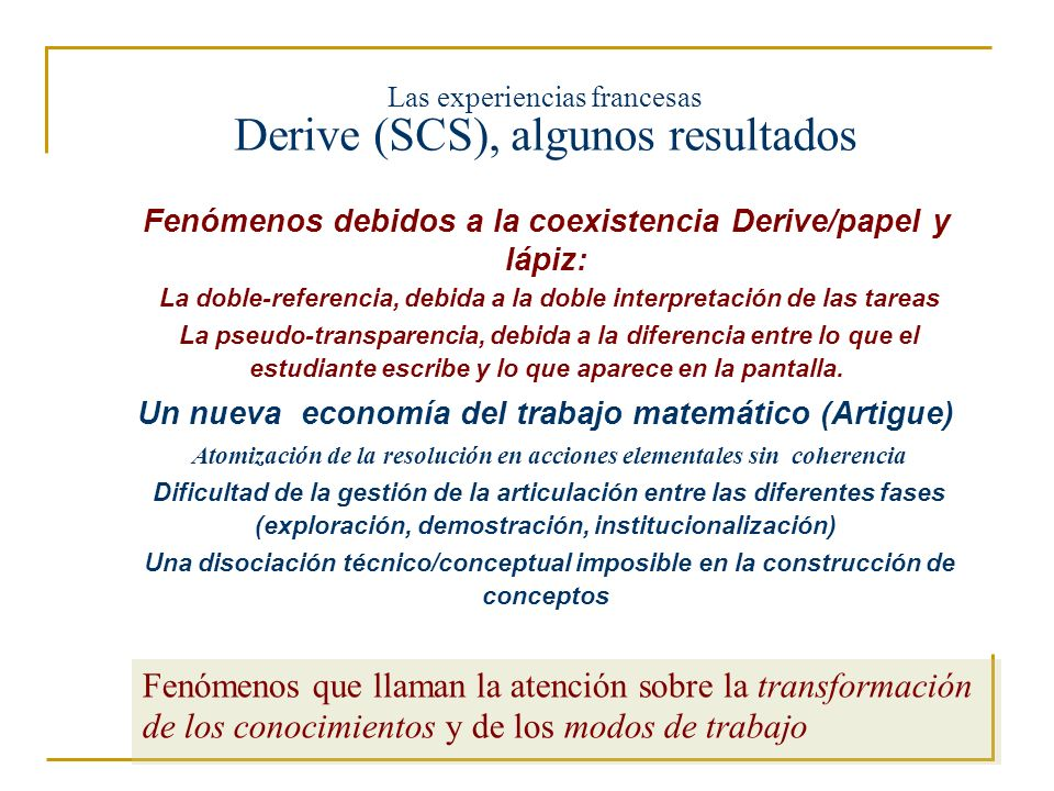 Las experiencias francesas Derive (SCS), algunos resultados