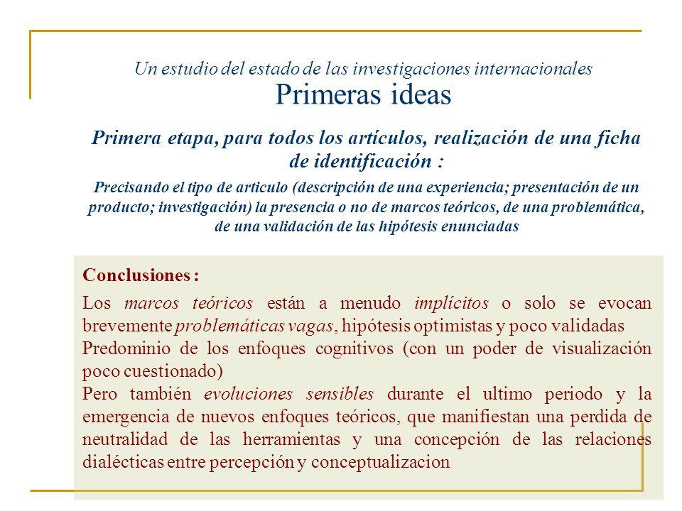 Un estudio del estado de las investigaciones internacionales Primeras ideas