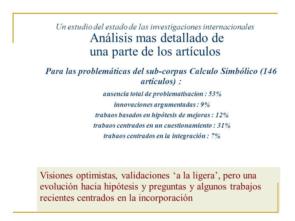 Un estudio del estado de las investigaciones internacionales Análisis mas detallado de una parte de los artículos