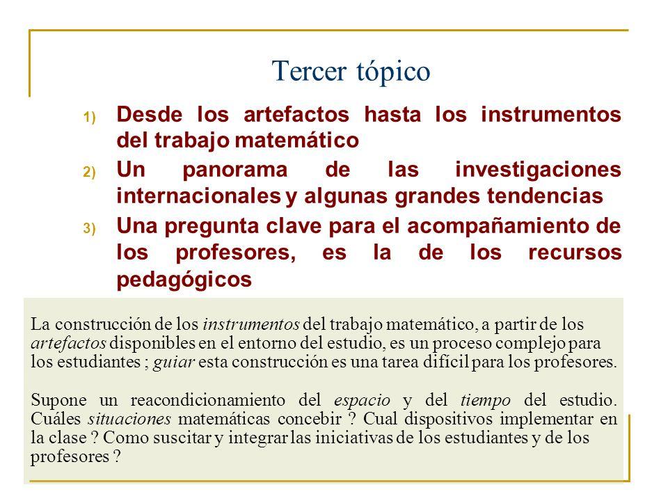 Tercer tópico Desde los artefactos hasta los instrumentos del trabajo matemático.