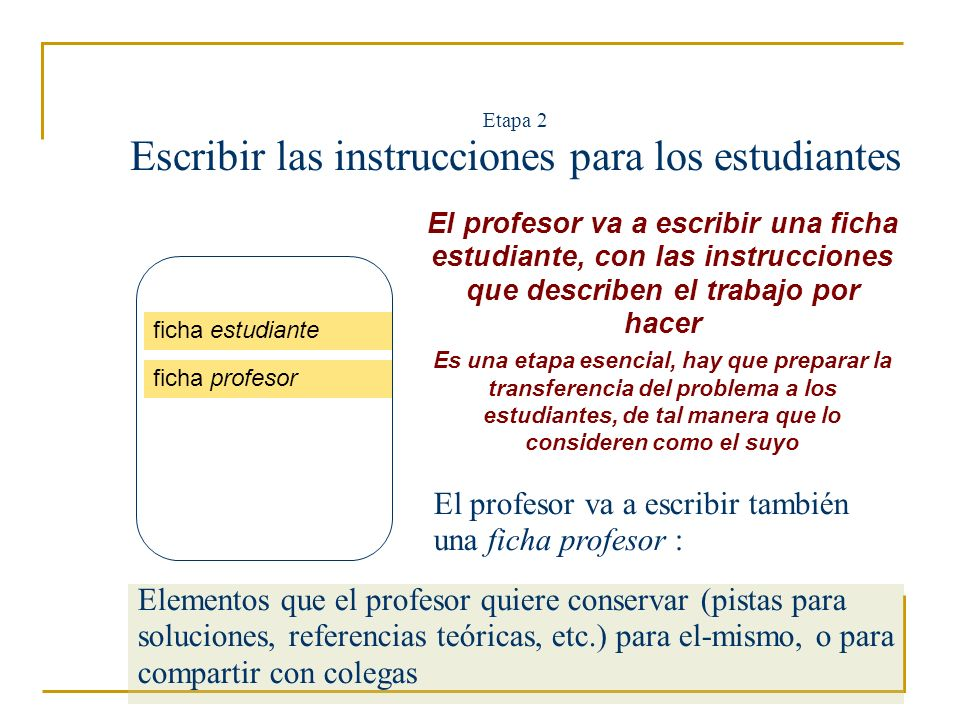 Etapa 2 Escribir las instrucciones para los estudiantes