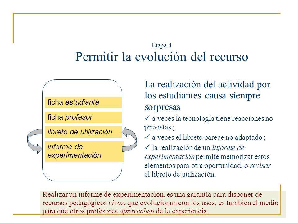 Etapa 4 Permitir la evolución del recurso