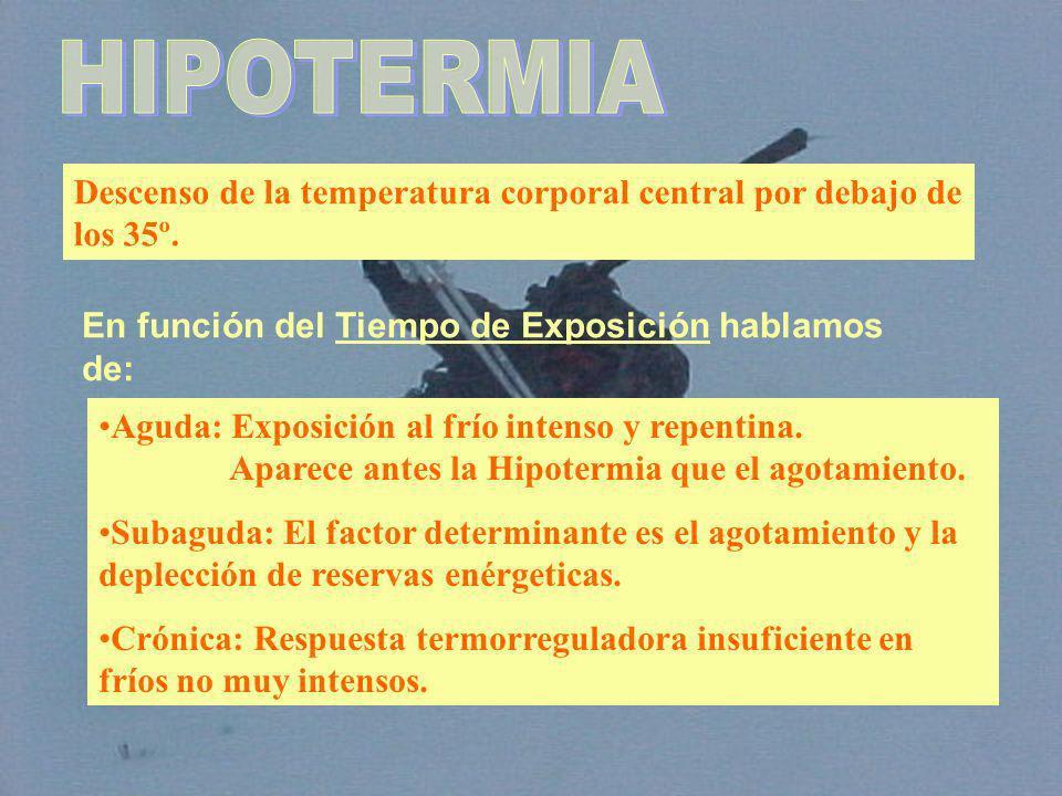 HIPOTERMIA Descenso de la temperatura corporal central por debajo de los 35º. En función del Tiempo de Exposición hablamos de: