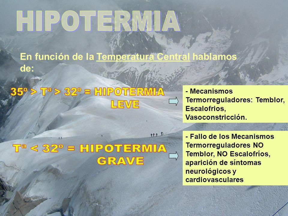 HIPOTERMIA En función de la Temperatura Central hablamos de: